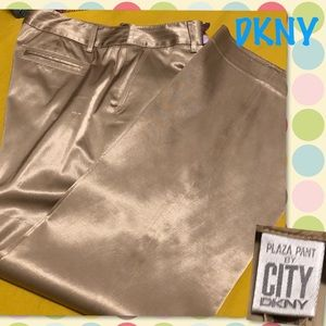 City DKNY Plaza Gold Satin Wide Leg Slack pant 10